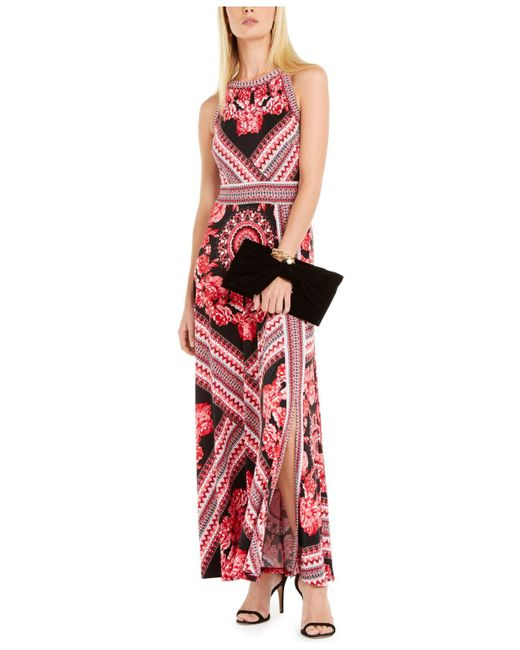 INC International Concepts Red Inc Petite Printed Halter-neck Maxi Dress, Created For Macy's