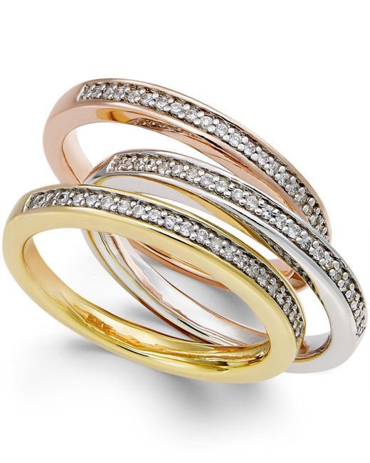 Macy's | Metallic Tri-tone Diamond Three-band Set (1/4 Ct. T.w.) In 14k Gold Over Sterling Silver | Lyst