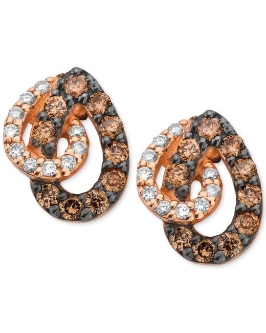 Le Vian - White And Chocolate Diamond Teardrop Earrings In 14k Rose Gold (1/2 Ct. T.w.) - Lyst