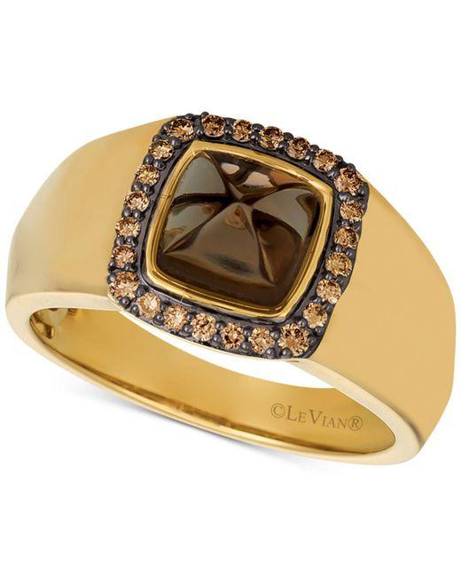 Le Vian - Metallic Men's Chocolate Quartz® (2-3/8 Ct. T.w.) & Diamond (1/4 Ct. T.w.) Ring In 14k Gold - Lyst