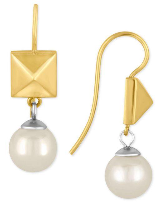 Majorica | Metallic Two-tone Imitation Pearl And Pyramid Drop Earrings | Lyst