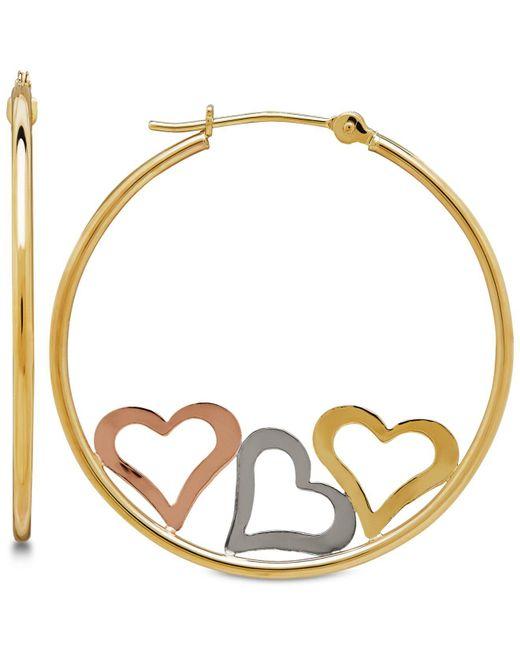 Macy's - Metallic Tri-color Triple Heart Hoop Earrings In 10k Gold - Lyst