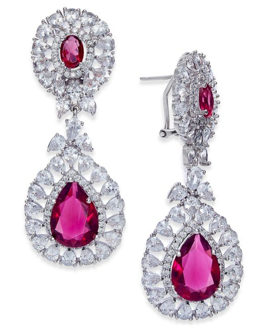 Joan Boyce | Red Silver-tone Double Teardrop Crystal Drop Earrings | Lyst
