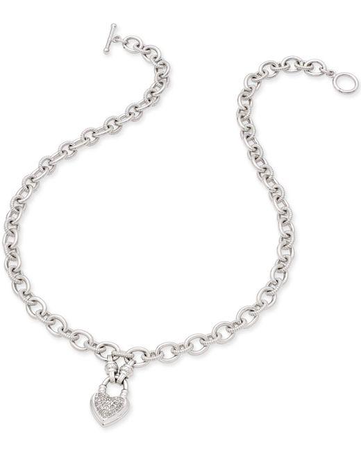 Macy's - Metallic Diamond Heart Pendant Necklace (1/4 Ct. T.w.) In Sterling Silver - Lyst