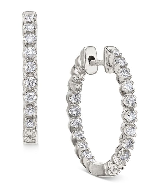 Macy's - Metallic Diamond In-and-out Hoop Earrings (1/2 Ct. T.w.) In 14k White Gold - Lyst