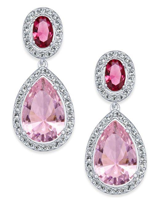 Danori - Pink Silver-tone Crystal Teardrop Drop Earrings - Lyst