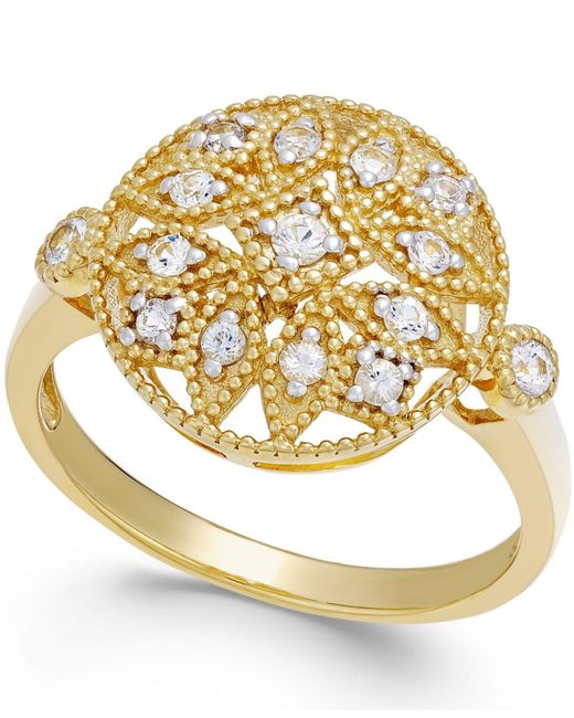 Macy's | Multicolor White Sapphire Filigree Ring In 14k Gold (1/4 Ct. T.w.) | Lyst