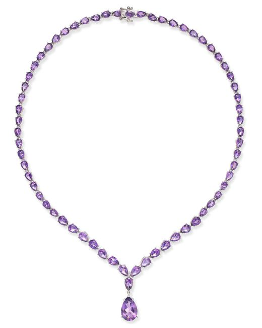 Macy's - Metallic Amethyst Statement Necklace (28 Ct. T.w.) In Sterling Silver - Lyst