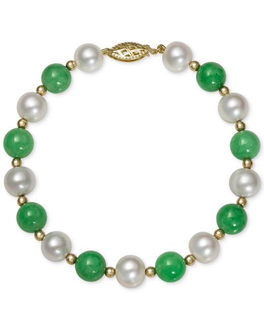 Macy's - Green 14k Gold Bracelet, Cultured Freshwater Pearl And Jade - Lyst