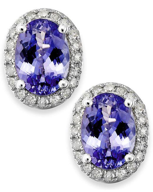 Macy's - Blue Tanzanite (1-1/2 Ct. T.w.) And Diamond (1/5 Ct. T.w.) Oval Stud Earrings In 14k White Gold - Lyst