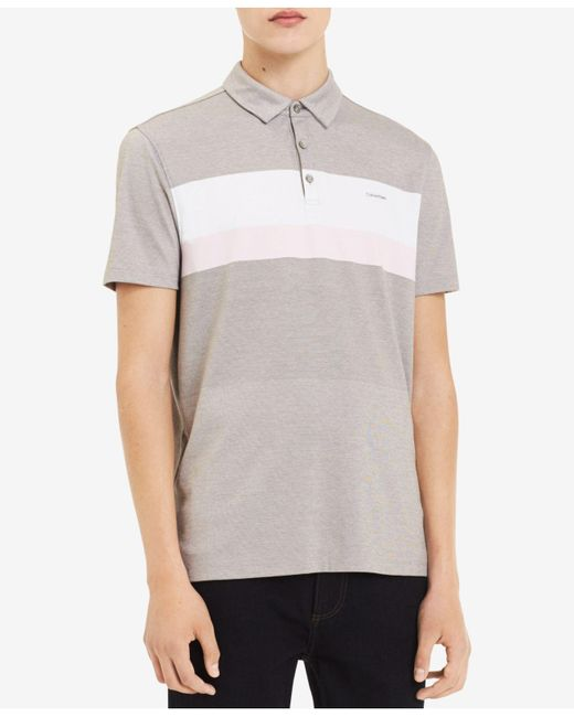CALVIN KLEIN 205W39NYC - Gray Pieced Colorblocked Stripe Polo for Men - Lyst
