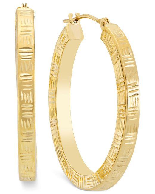 Macy's Metallic Etched Hoop Earrings In 10k Gold