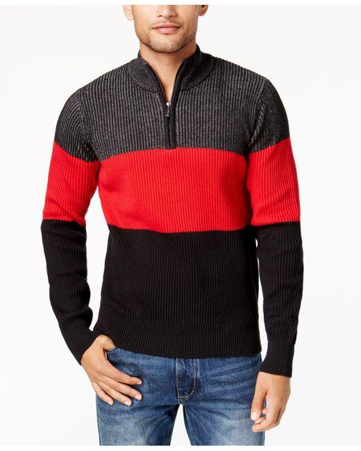 Sean John | Black Men's Colorblocked Plated-knit Sweater for Men | Lyst