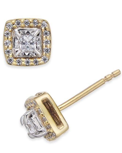Macy's Metallic Diamond Square-set Stud Earrings (1/4 Ct. T.w.)