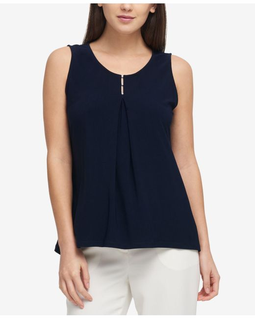 DKNY - Blue Embellished Top, Created For Macy's - Lyst