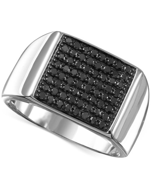 Macy's - Men's Black Diamond (3/4 Ct. T.w.) Ring In Sterling Silver for Men - Lyst