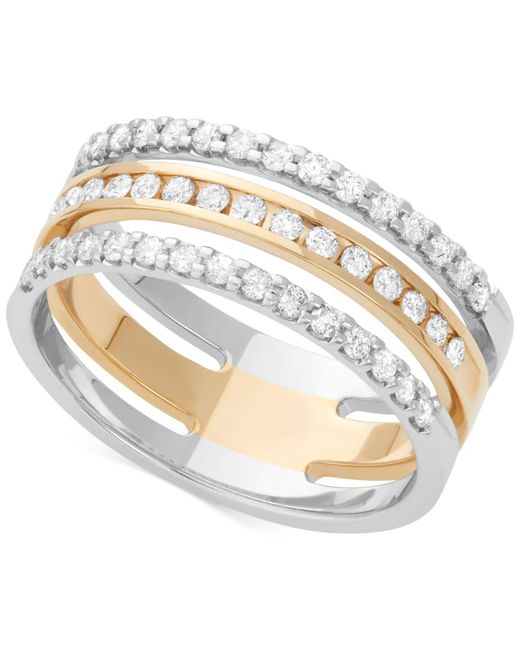 Macy's | Diamond Channel Band (1/2 Ct. T.w.) In 14k White And Yellow Gold | Lyst