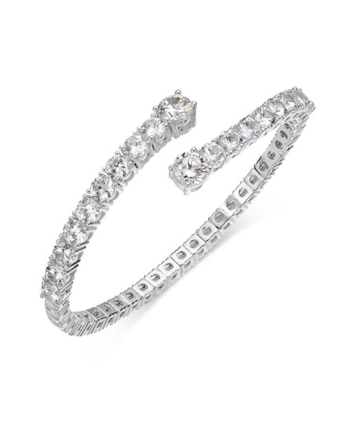 Joan Boyce - White Crystal Flex Bangle Bracelet - Lyst
