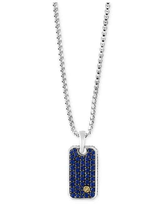 Effy Collection | Metallic Men's Sapphire Dog Tag Pendant Necklace (1-3/8 Ct. T.w.) In Sterling Silver And 18k Gold for Men | Lyst