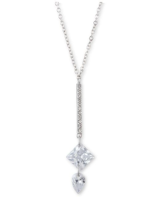 "Givenchy Metallic Crystal Lariat Necklace, 16"" + 3"" Extender"