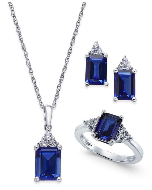 Macy's - Metallic Lab-created Sapphire (5 Ct. T.w.) And White Sapphire (3/8 Ct. T.w.) Jewelry Set In Sterling Silver - Lyst