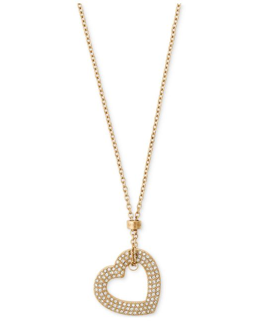 Michael Kors | Metallic Gold-tone Pavé Heart Pendant Necklace | Lyst