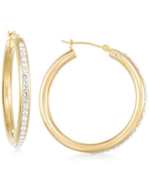 Signature Gold - Metallic Crystal Hoop Earrings In 14k Gold - Lyst
