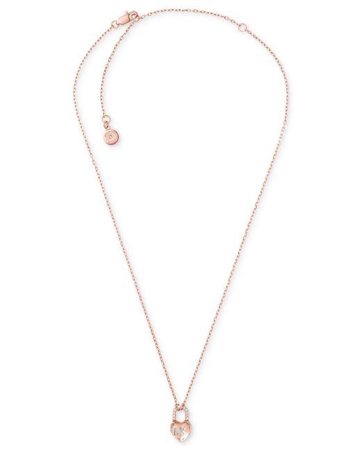 Michael Kors | Metallic Pavé Heart Lock Pendant Necklace | Lyst