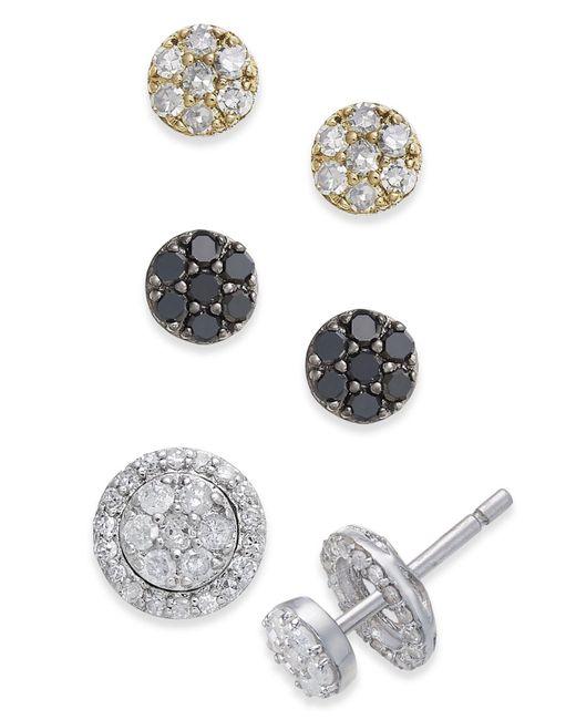 Macy's - Metallic Diamond Cluster 4-pc. Stud Earrings And Interchangeable Jacket Set (3/4 Ct. T.w.) In Sterling Silver - Lyst