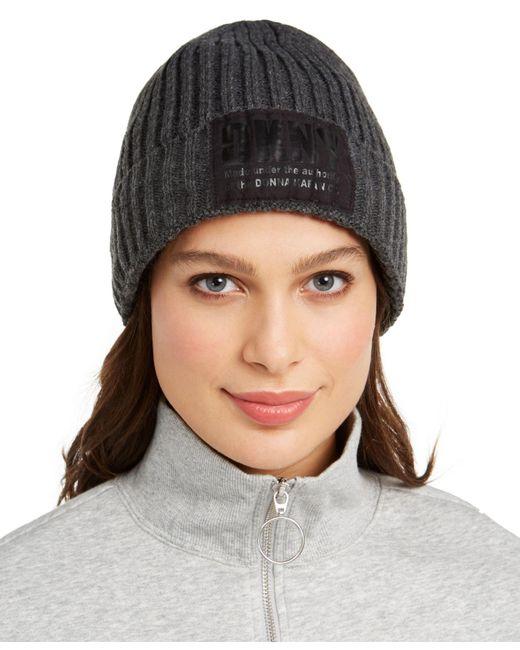 DKNY Gray Fleece-lined Knit Beanie