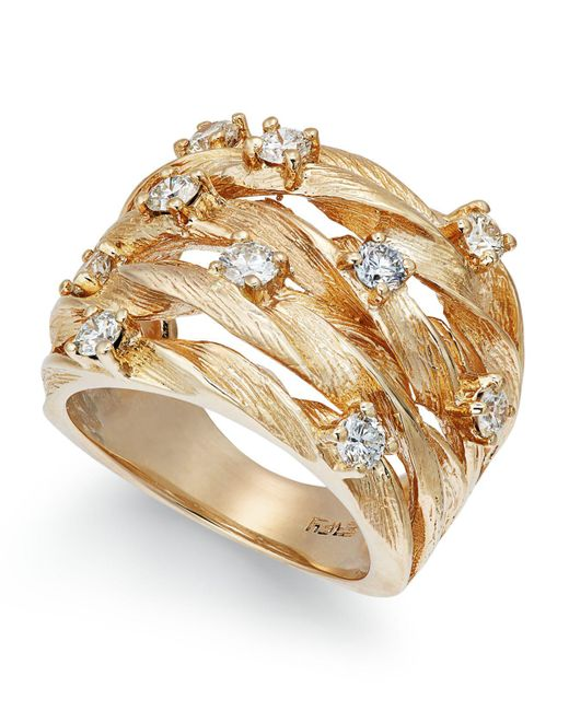 Effy Collection - Metallic Diamond Woven Ring (1 Ct. T.w.) In 14k Gold - Lyst