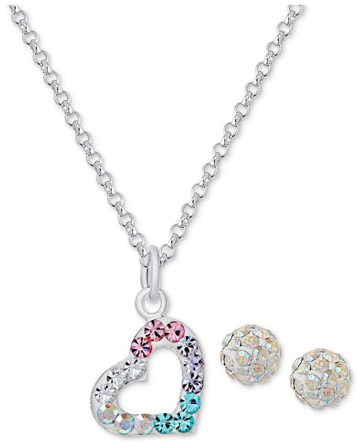 Macy's | Metallic Colored And Clear Crystal Heart Necklace And Stud Earrings Set In Sterling Silver | Lyst