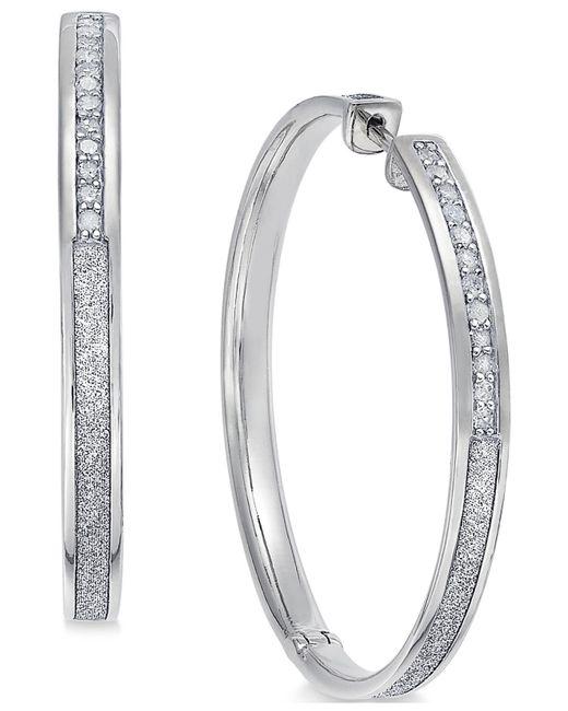 Macy's - Metallic Diamond Hoop Earrings (1/3 Ct. T.w.) In Sterling Silver - Lyst