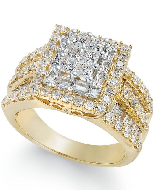 Macy's - Metallic Diamond Cluster Ring (2 Ct. T.w.) In 14k Gold - Lyst
