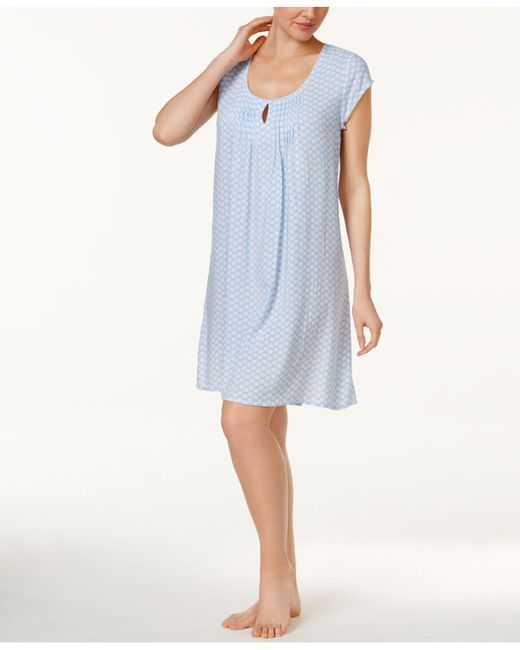 Miss Elaine | Blue Tucked-front Cap-sleeve Printed Nightgown | Lyst