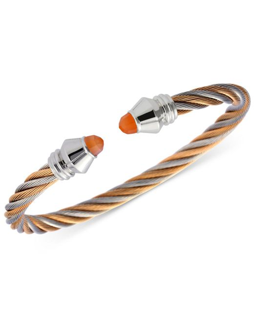Charriol - Multicolor Women's Fabulous Orange Moonstone Two-tone Pvd Stainless Steel Cable Bangle Bracelet - Lyst