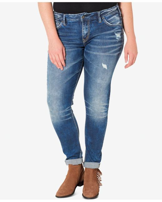 Silver Jeans Co. - Blue Silver Jeans Plus Size Indigo Wash Ripped Girlfriend Jeans - Lyst