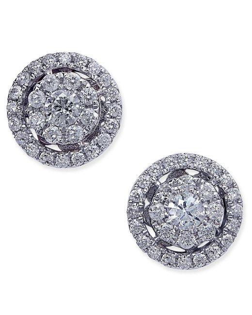 Macy's | Metallic Diamond Cluster Halo Stud Earrings (1/2 Ct. T.w.) In 14k White Gold | Lyst
