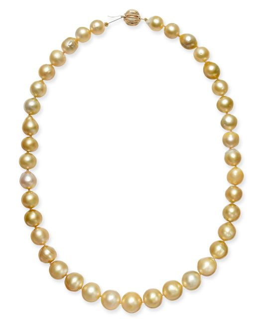 """Macy's - Metallic Baroque Golden South Sea Pearl (9mm) Strand 18"""" Collar Necklace - Lyst"""