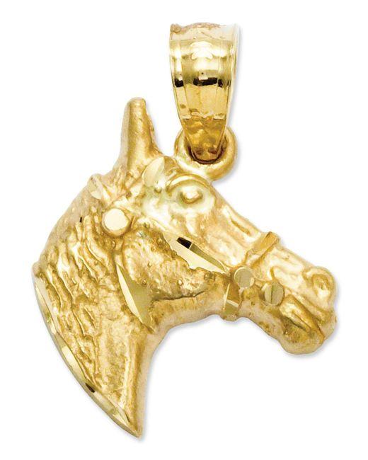 Macy's - Metallic 14k Gold Charm, Diamond-cut Horse Head Charm - Lyst