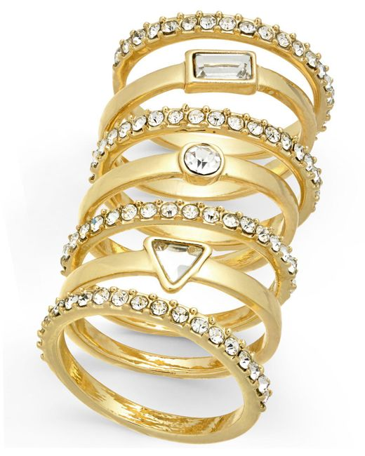INC International Concepts - Metallic I.n.c. Gold-tone 7-pc. Set Crystal Stackable Rings, Created For Macy's - Lyst