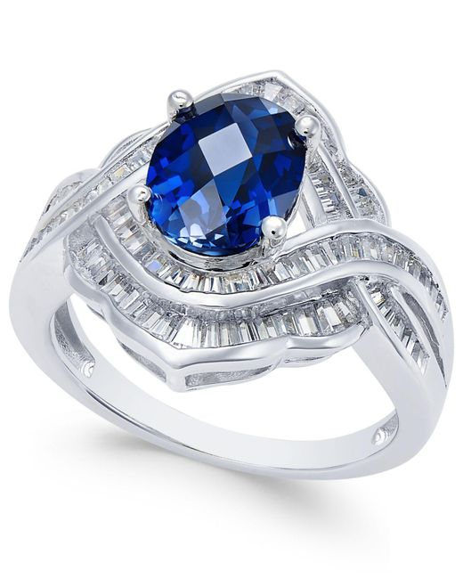 Macy's - Metallic Sapphire (2 Ct. T.w.) And Diamond (3/4 Ct. T.w.) Ring In 14k White Gold - Lyst