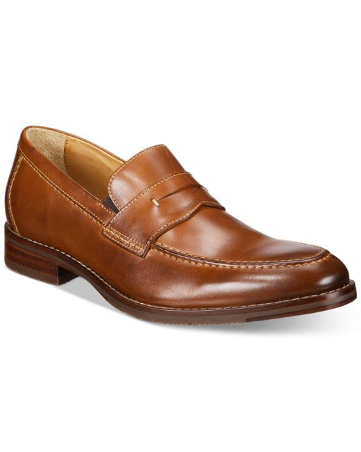 Johnston & Murphy - Brown Men's Garner Penny Loafers for Men - Lyst