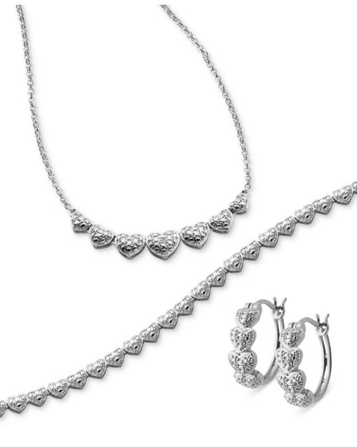 Macy's | Metallic Captured Heart Jewelry Collection 3-piece Necklace, Bracelet And Earrings Set | Lyst
