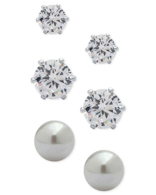 Anne Klein | Metallic 3-pc. Set Crystal And Imitation Pearl Stud Earrings | Lyst