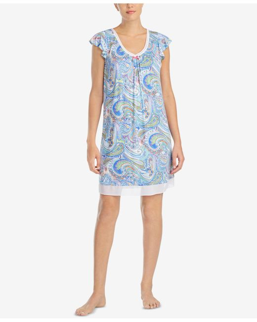 Ellen Tracy - Blue Printed Chiffon-hem Short Nightgown - Lyst