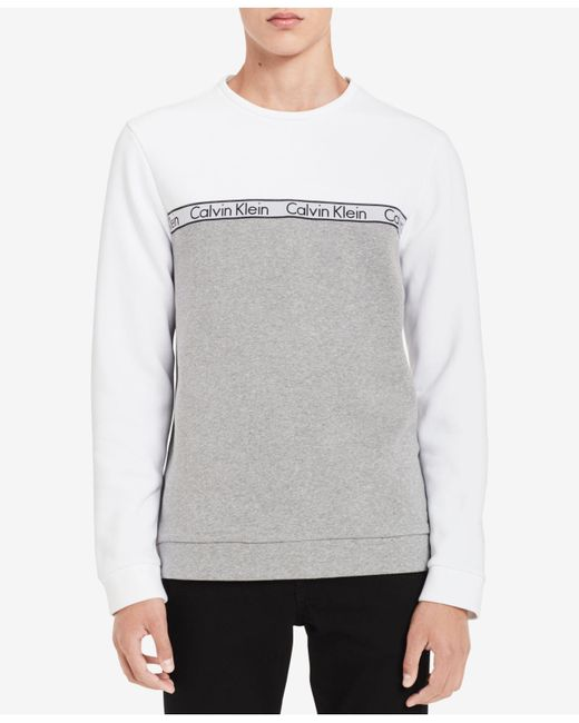 CALVIN KLEIN 205W39NYC - White Logo Colorblocked Sweatshirt for Men - Lyst