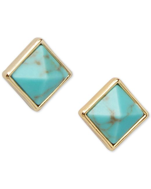 Vera Bradley | Blue Gold-tone Pink Stone Square Stud Earrings | Lyst