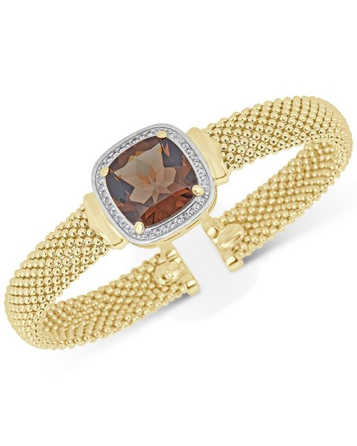 Macy's | Metallic Smoky Quartz (10 Ct. T.w.) & White Topaz (1/3 Ct. T.w.) Mesh Bracelet In 14k Gold-plated Sterling Silver | Lyst