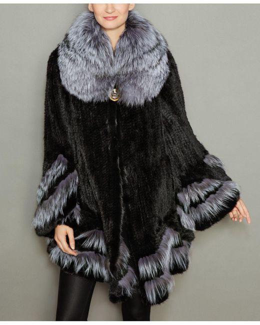 The Fur Vault Black Fox-fur-trim Knitted Mink Fur Coat